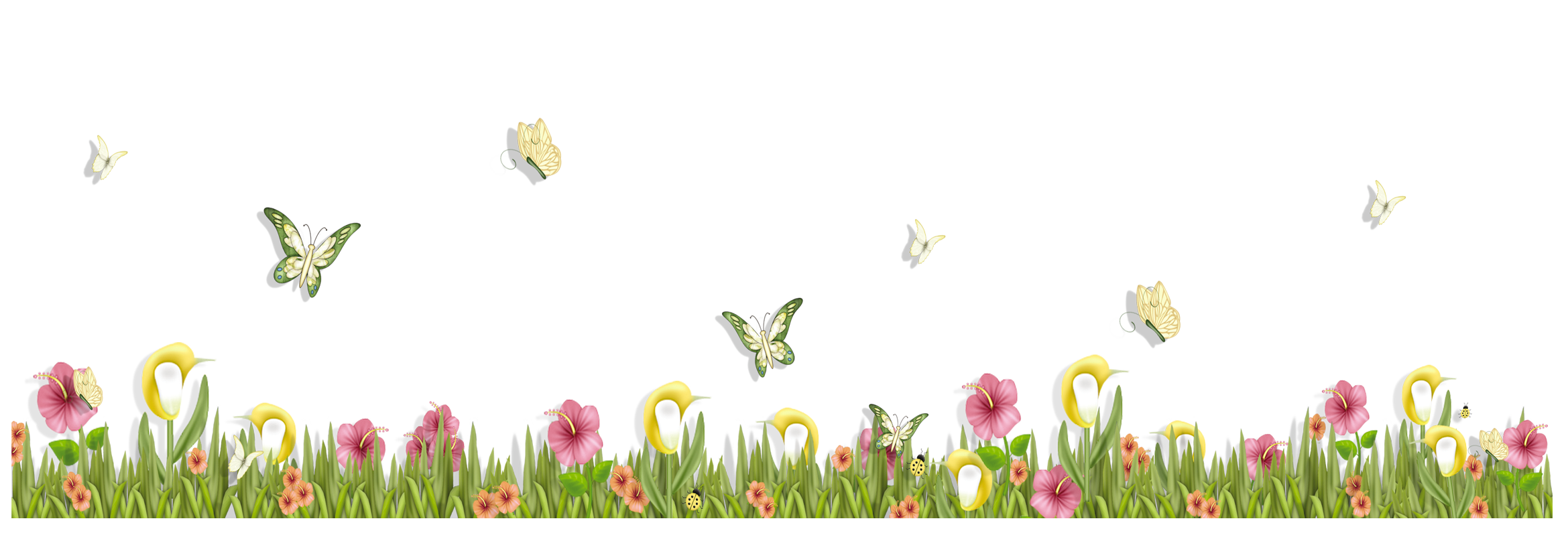 Grass with Butterflies and Flowers PNG Clipart.