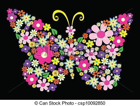 Clipart Vector of spring flower butterfly vector illustration.