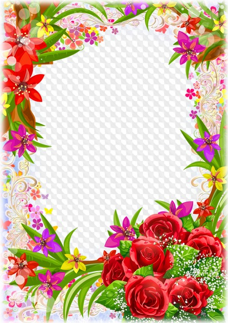 Photoshop frame template with beautiful flowers. Transparent.