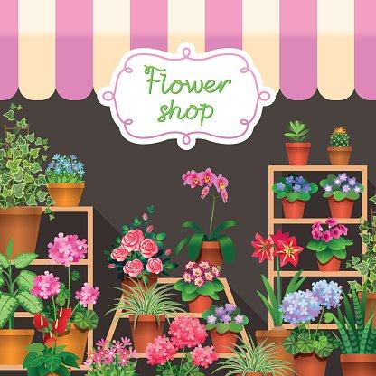 flower shop Clipart Image.