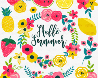 Summer Clipart, Fashion Illustration, Hawaii Clip Art, Tropical.