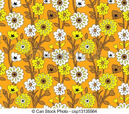 Clip Art Vector of Seamless fancy flower wallpaper.