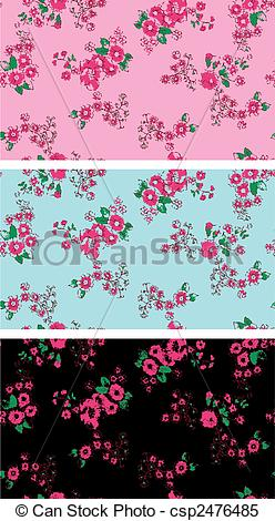 Clipart Vector of Seamless vintage rose flower wallpaper.