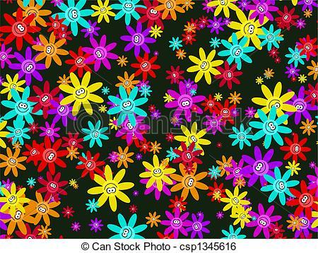Stock Illustration of happy flower wallpaper.
