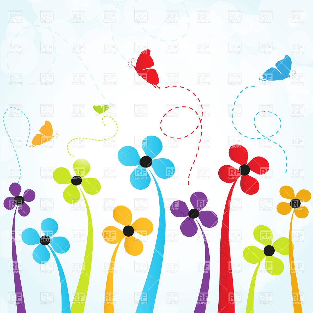 Simple flowers and butterflies Stock Vector Image.