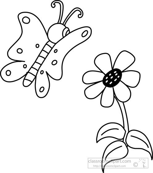 Flower And Butterfly Clipart Black And White.