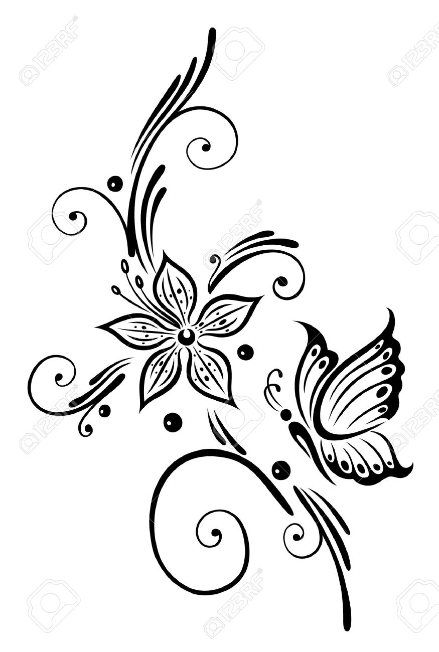 Clipart flowers and butterflies black and white 7 » Clipart.