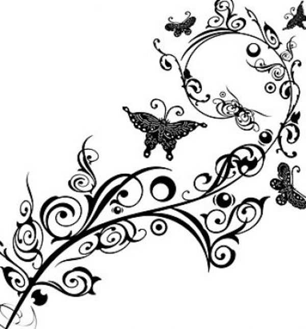 Clipart flowers and butterflies black and white » Clipart.