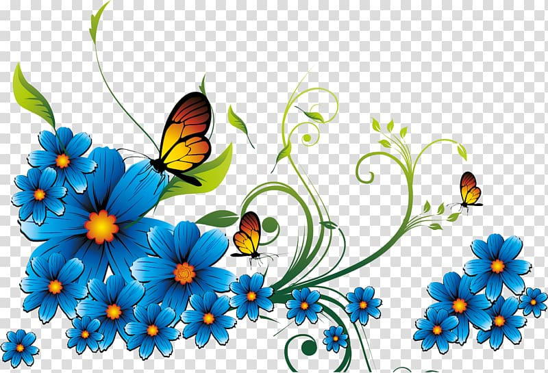 Three brown butterflies beside flowers , Borders and Frames Blue.