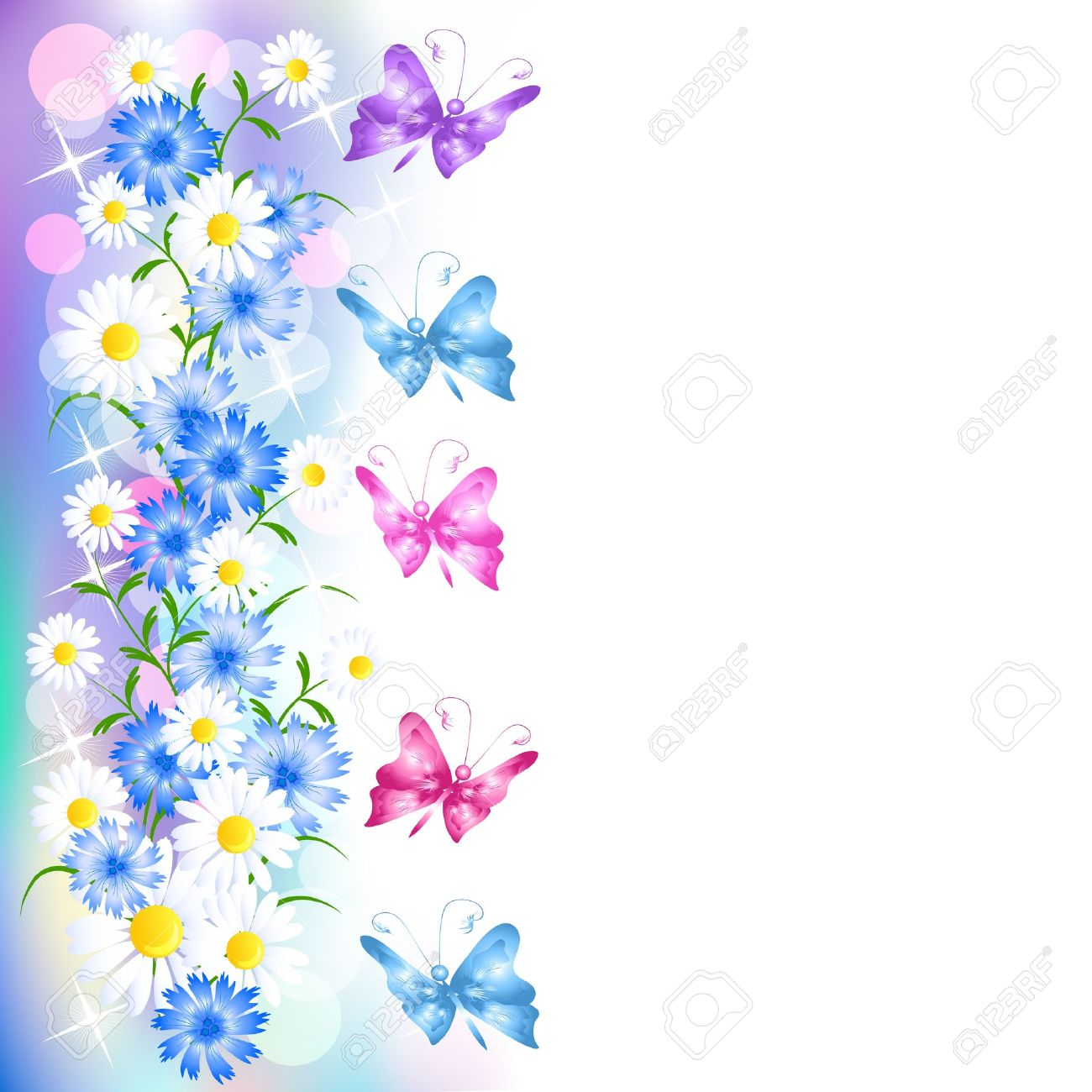 Clipart flowers and butterflies border 9 » Clipart Station.