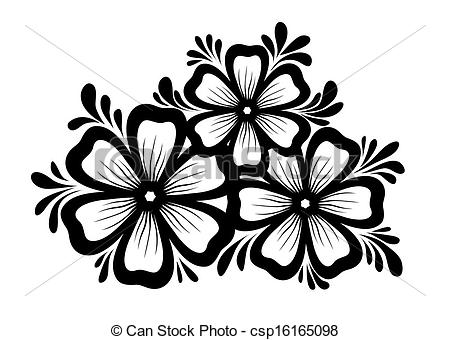 EPS Vectors of Beautiful floral element. Black.