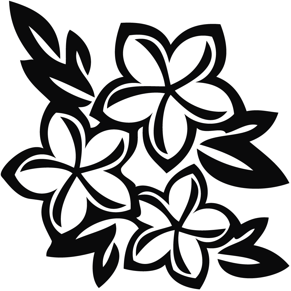 Hawaiian flower black and white clip art clipart.
