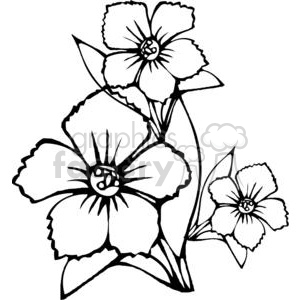 black outline of three flower clipart. Royalty.