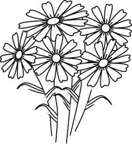 Flowers Clipart Black And White.