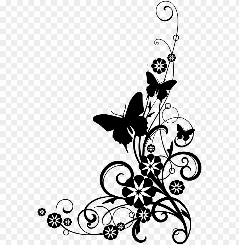 black and white flower border clipart.