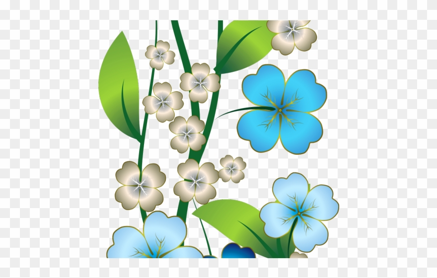 Flowers Borders Clipart Blue.