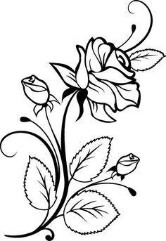 Flowers Color Clipart stencil.