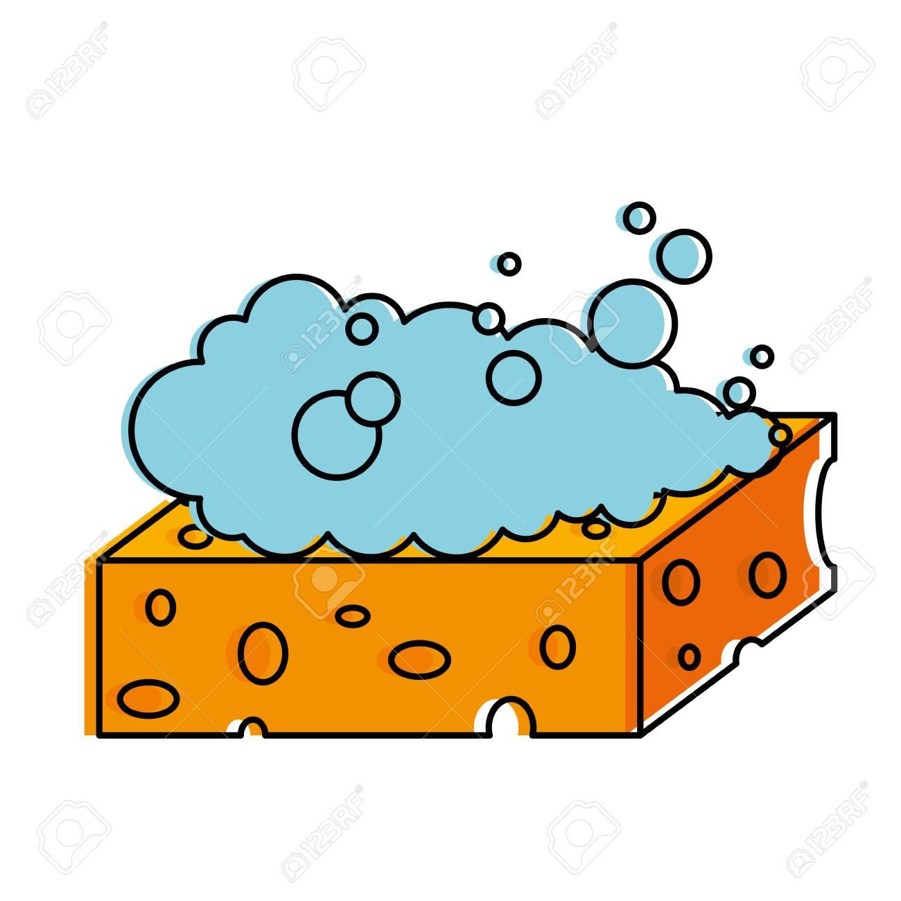 Sponge with soap foam vector illustration design.