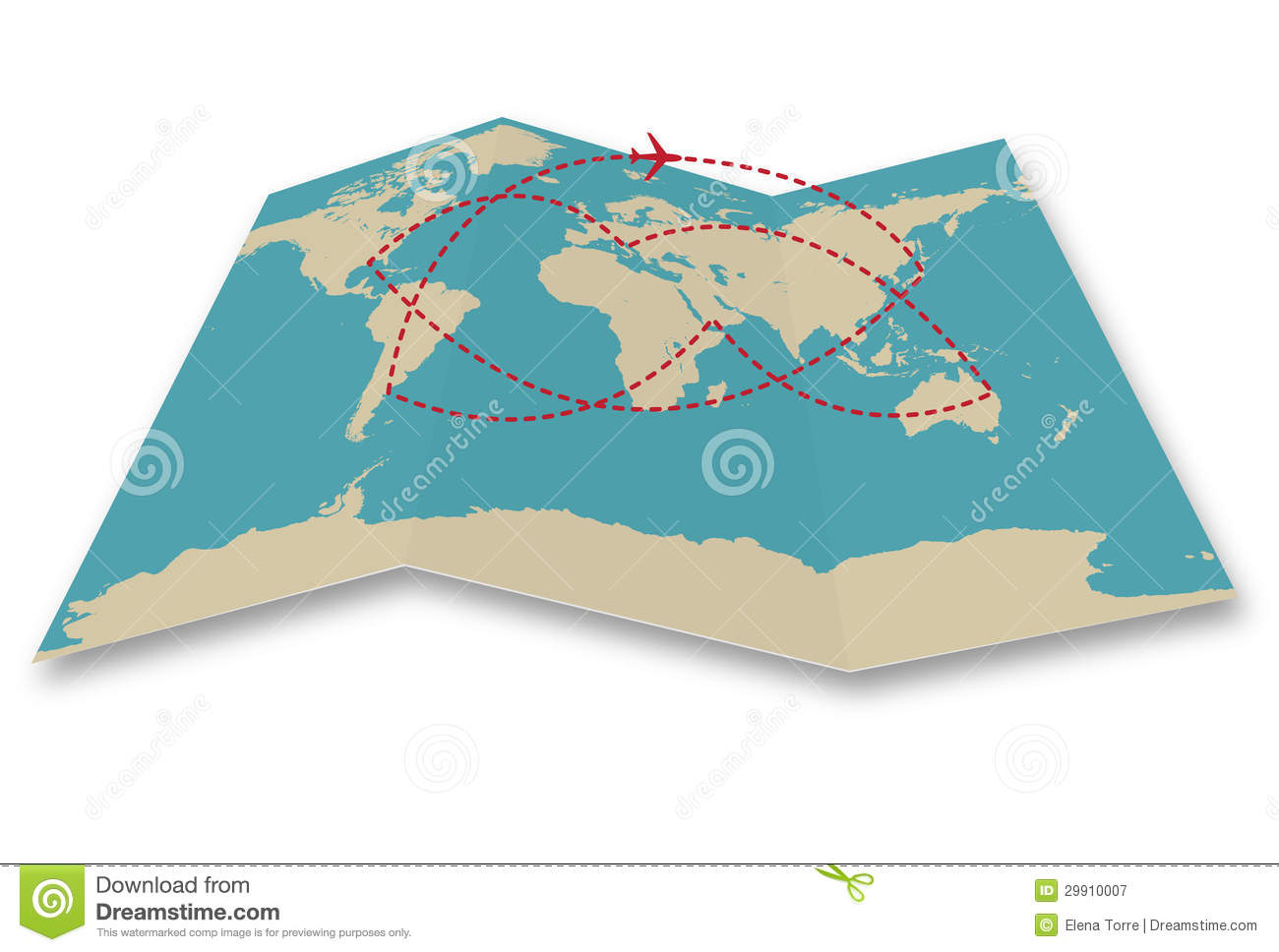 Travel Map Clipart Roadmap in clipart world map folded collection.