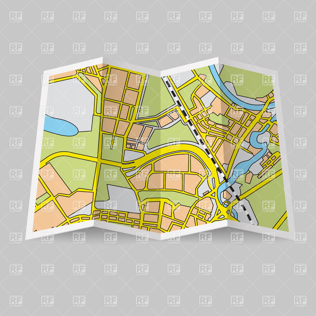 Folded Map Clipart.