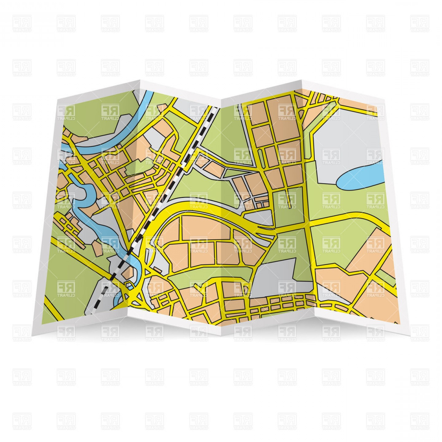 Hd Abstract Folded Paper City Map Vector Clipart Illustration.