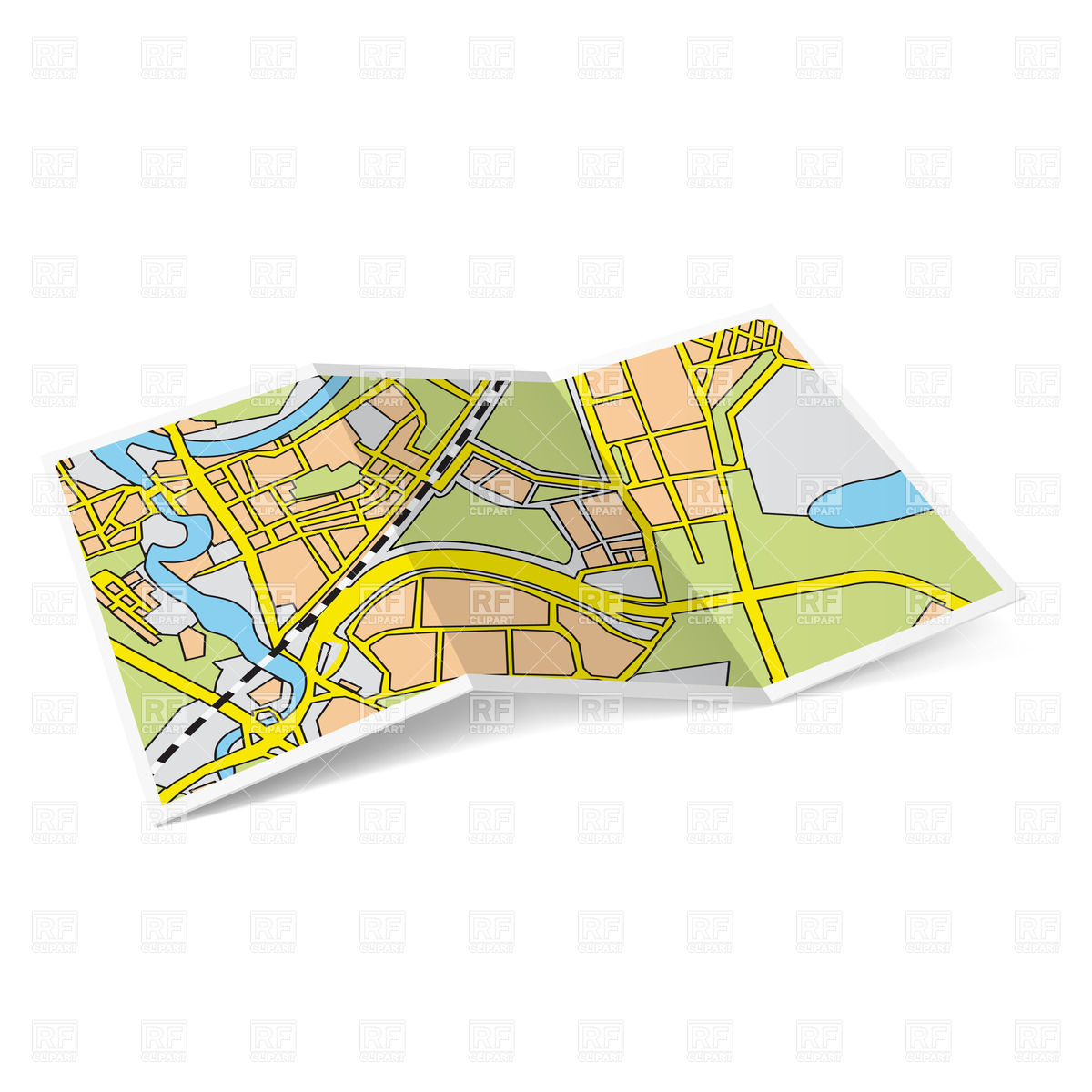 Map Images Clipart Folded.