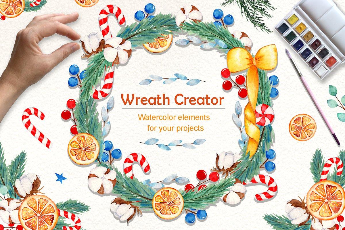 Wreath Creator Watercolor Clipart.