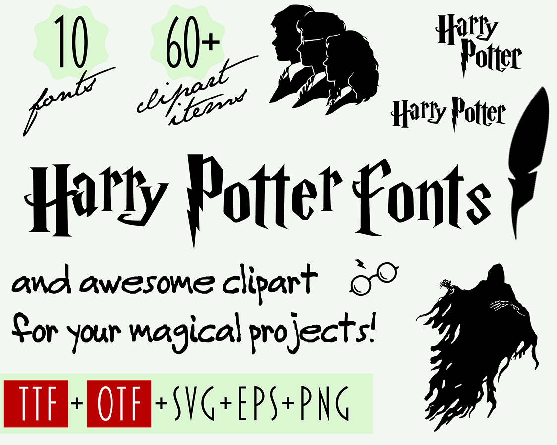 Harry Potter Font And Clip Art Digital Download.