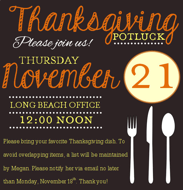 Thanksgiving Potluck Announcement.