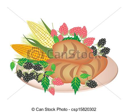 Vector Clipart of A Plate of Cornbread with Berry Fruit and Sweet.