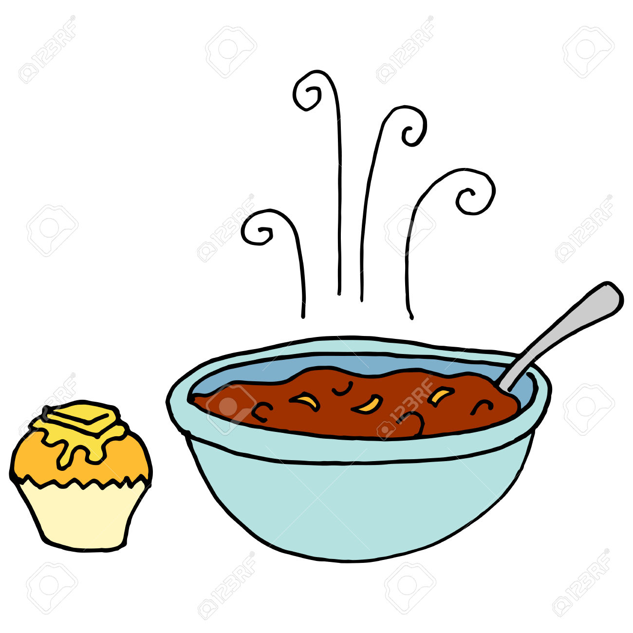 An Image Of A Bowl Of Chili And Cornbread Muffin. Royalty Free.