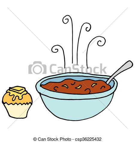 Vectors of Bowl of chili and cornbread muffin.