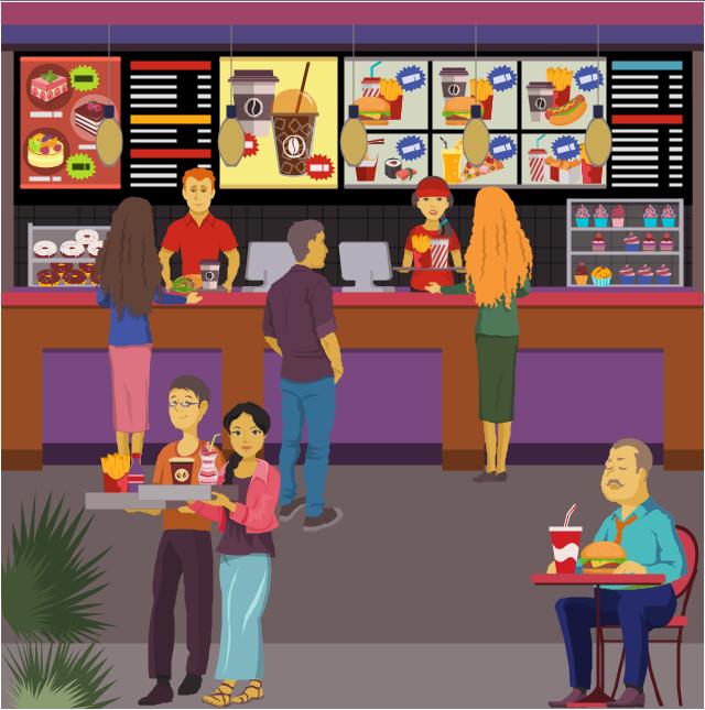 Fast food bar.