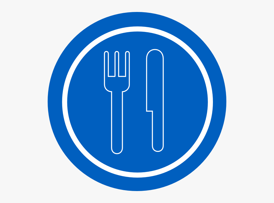Food Service Sign Blue Plate With Outline Knife And.