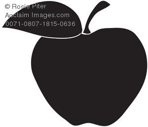 Classic Silhouette of an Apple With Stem and Leaf.