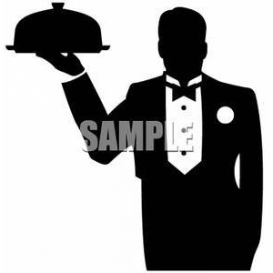 Clipart of a Silhouette of a Waiter Holding up a Covered Pla.