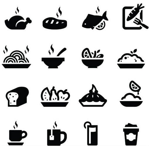 Silhouette Food Icons vector.