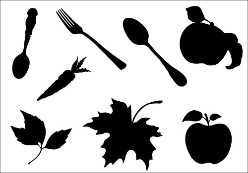 Thanksgiving Food Silhouette VectorSilhouette Clip Art.