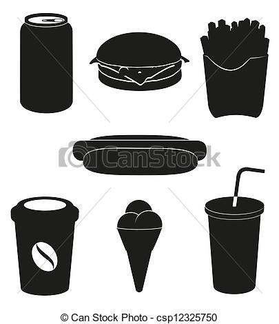 Clipart Vector of set icons of fast food black silhouette vector.