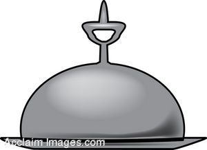 Clip Art of a Silver Room Service Tray With Cover.
