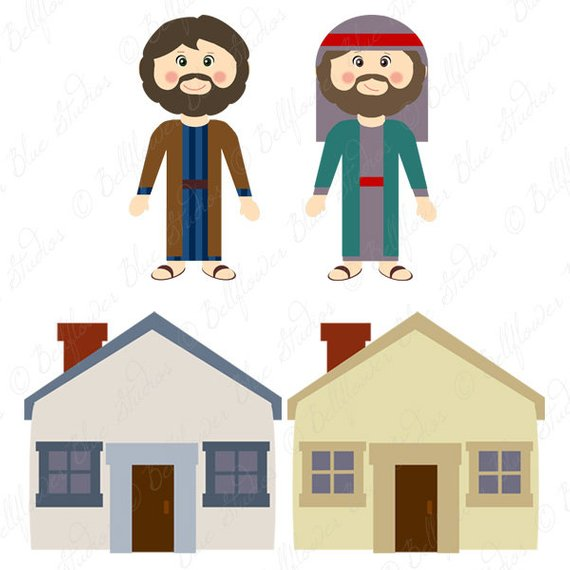 The Wise Man and the Foolish Man Digital Clipart.