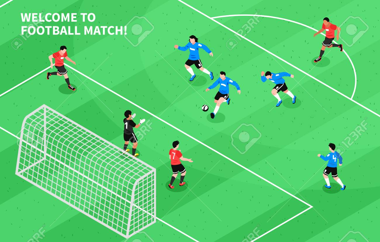 Football soccer match moment with attacking forward shooting...