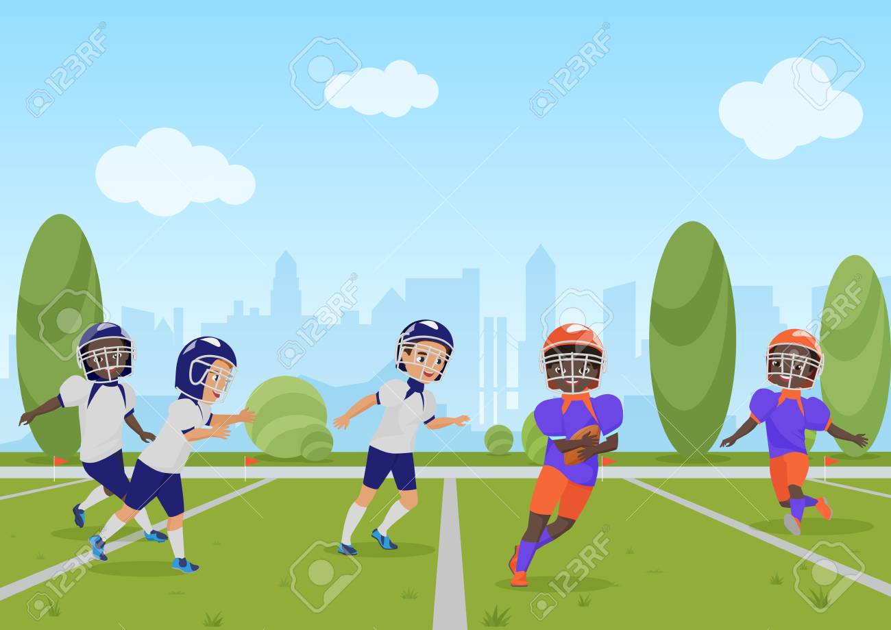Kids children playing american football match. Vector illustration...