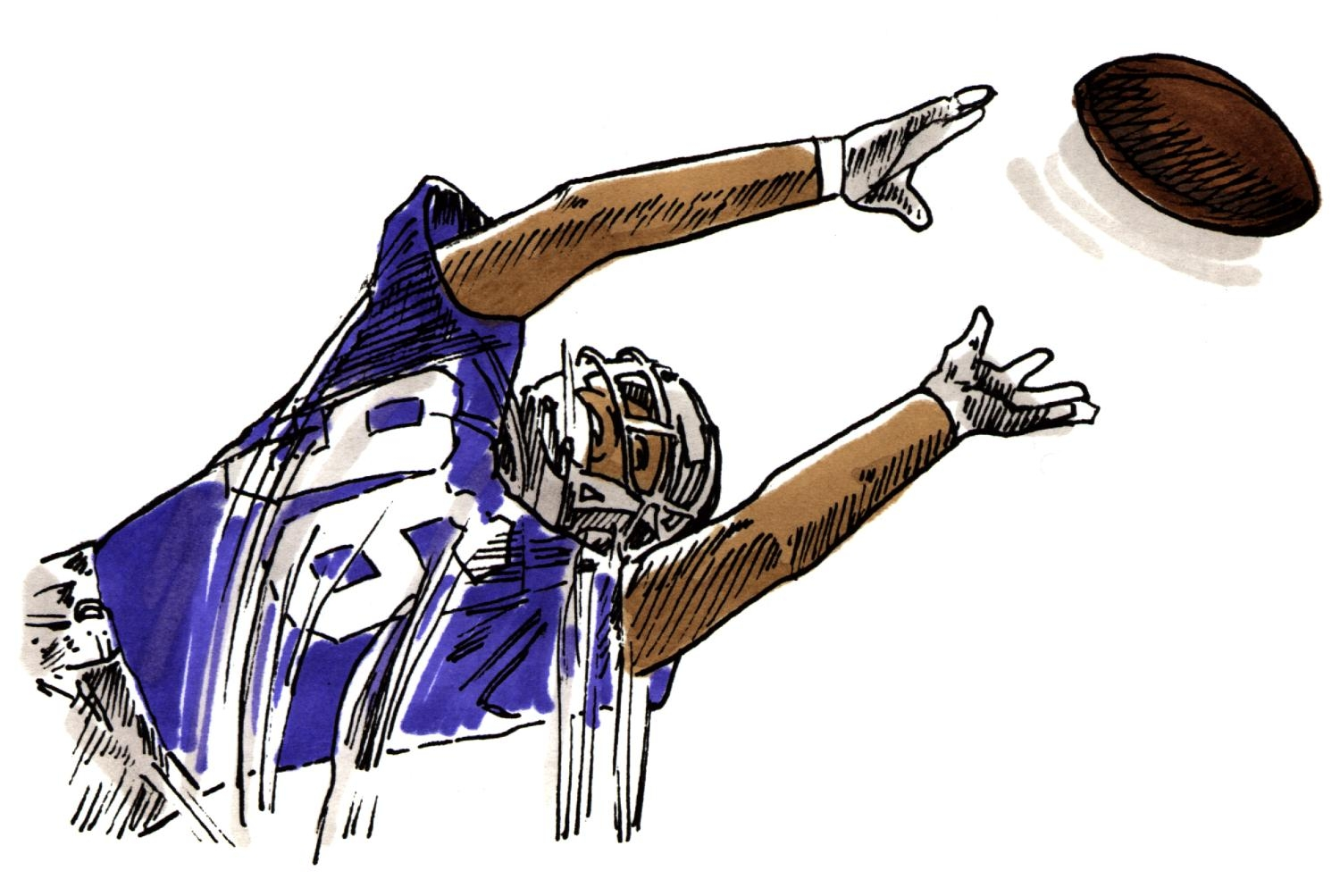 Football Player Catching Clipart.