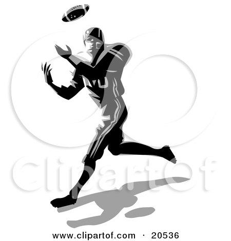 Clipart Illustration of a Football Player Being Tackled While.