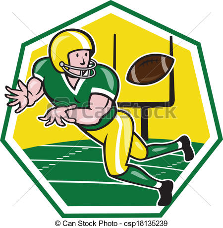 Vectors of American Football Wide Receiver Catching Ball Cartoon.