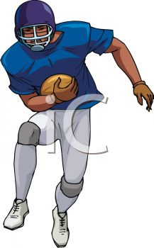 Picture of a Football Player Catching a Ball In a Vector Clip Art.