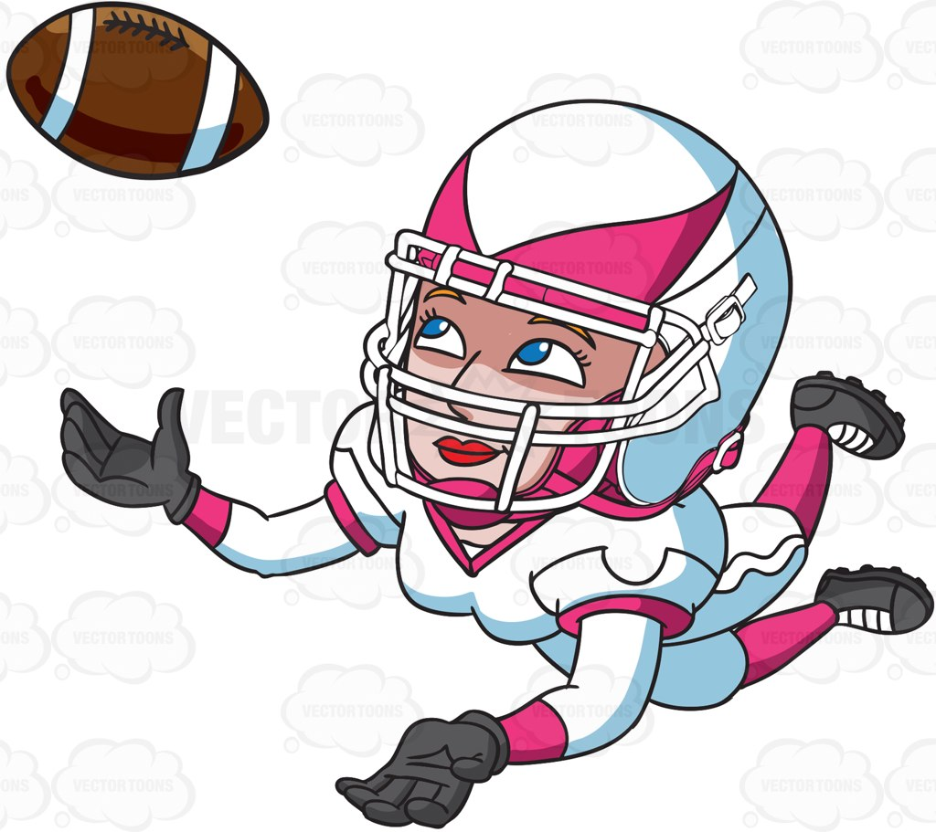 A Female Football Player Catching The Ball Cartoon Clipart.