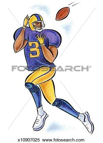 Stock Illustration of Football player about to make catch.