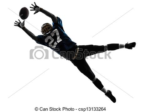 Stock Image of american football player man catching receiving.